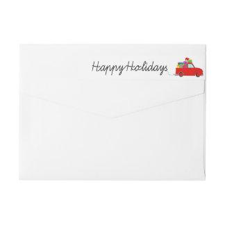Boas festas etiqueta do caminhão e do Natal dos