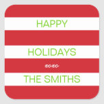 Boas festas etiqueta (vermelho e branco) adesivo quadrado