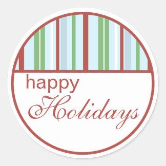 Boas festas etiquetas listradas do Natal Adesivo Em Formato Redondo