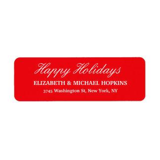Boas festas família branca vermelha do Feliz Natal Etiqueta Endereço De Retorno