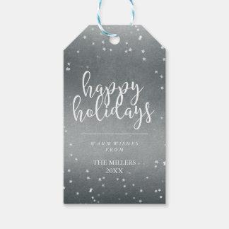 Boas festas folha de prata & estrelas do falso de etiqueta para presente