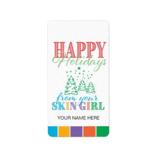 Boas festas/menina da pele - etiqueta da etiqueta