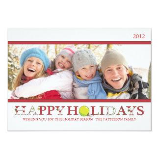 Boas festas no cartão com fotos vermelho e branco convite 12.7 x 17.78cm