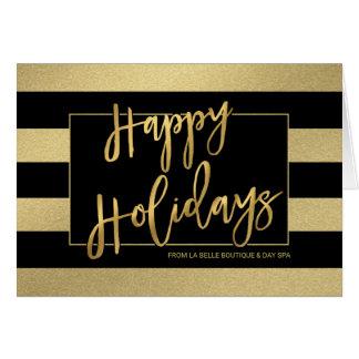 Boas festas o ouro na moda listra o Mão-Roteiro Cartão Comemorativo