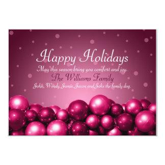 Boas festas o rosa Ornaments o cartão liso Convite 12.7 X 17.78cm