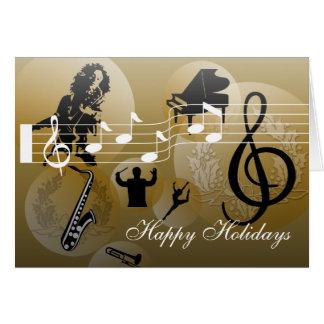 Boas festas ouro da música do amor do cartão