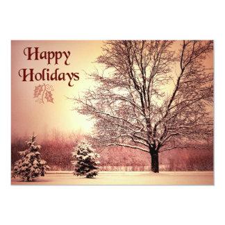 Boas festas paisagem bonita do inverno convite 12.7 x 17.78cm