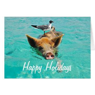 Boas festas porco nadador cartão comemorativo