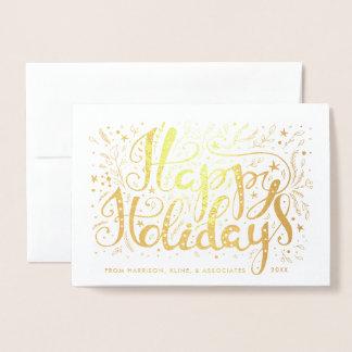 Boas festas ramo e estrelas incorporados cartão metalizado