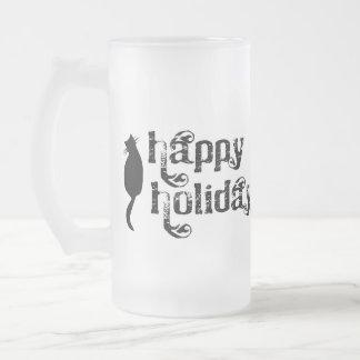Boas festas silhueta do gato canecas