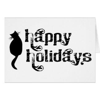 Boas festas silhueta do gato cartoes