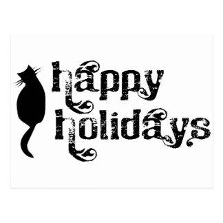Boas festas silhueta do gato cartão postal