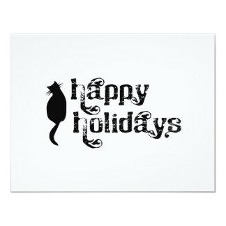 Boas festas silhueta do gato convite personalizados