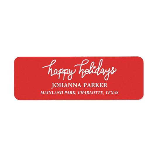 Boas festas vermelho escrito à mão branco da etiqueta endereço de retorno
