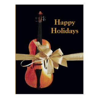 Boas festas violino cartão postal