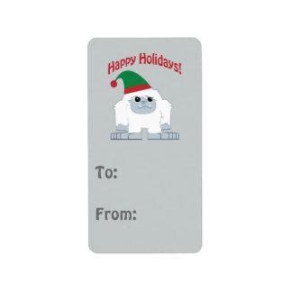 Boas festas! Yeti do Natal Etiqueta De Endereço