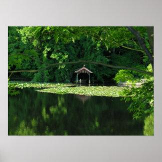 Boathouse das reflexões de Kyoto Japão Pôsteres