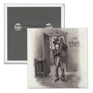 Bob Cratchit e Tim minúsculo, 'de Charles Dickens: Bóton Quadrado 5.08cm