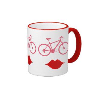 boca da bicicleta da mulher canecas