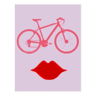 boca da bicicleta da mulher cartoes postais