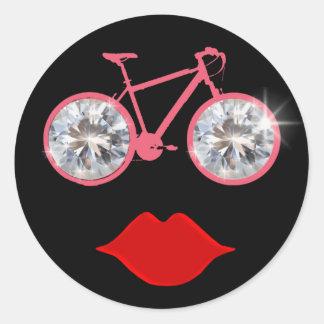 boca da bicicleta dos diamantes adesivos redondos