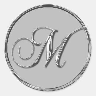 Bodas De Plata Formal Sello Monograma Adesivo