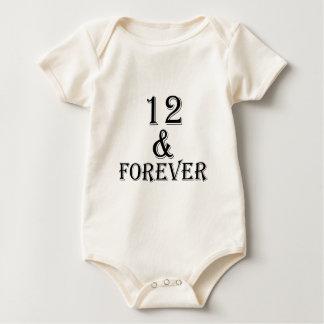 Body Para Bebê 12 e para sempre design do aniversário