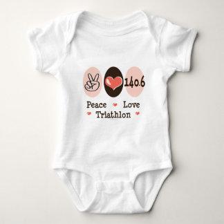 Body Para Bebê 140,6 Bodysuit do bebê do Triathlon do amor da paz