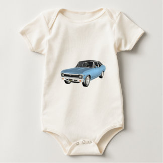 Body Para Bebê 1968 claro - carros azuis do músculo