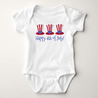 Body Para Bebê 4o feliz do chapéu patriótico América do tio Sam
