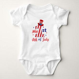 Body Para Bebê 4o patriótico do primeiro aniversario do bebê do