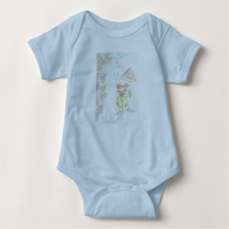 Body Para Bebê 6 do bebê meses de luz do t-shirt - azul
