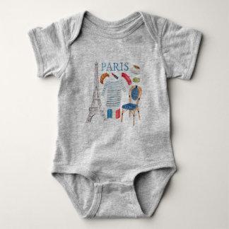 Body Para Bebê A aguarela francesa de Paris Doodles Onsie