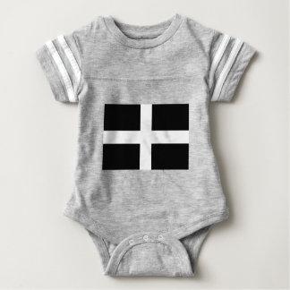 Body Para Bebê A bandeira de Piran Cornish do santo - bandeira de