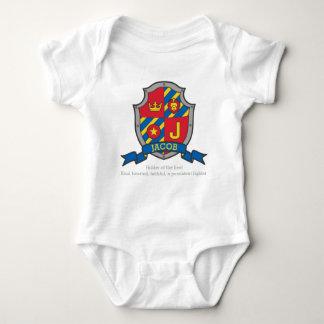 Body Para Bebê A crista do significado do nome de letra de Jacob