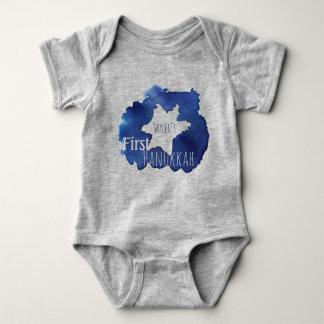 Body Para Bebê A estrela de David azul da aguarela resiste