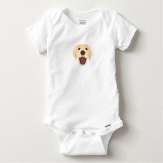 Body Para Bebê A ilustração persegue o ouro Retriver da cara