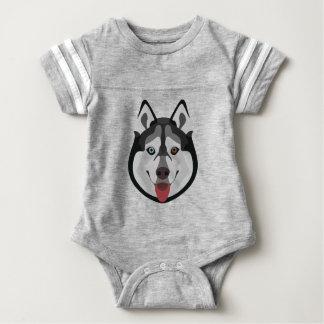 Body Para Bebê A ilustração persegue o rouco Siberian da cara
