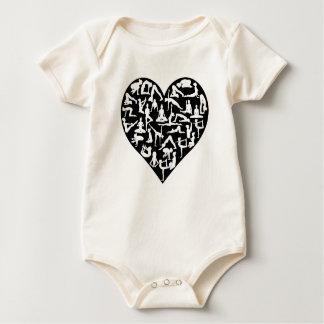 Body Para Bebê A ioga do amor levanta o coração das silhuetas
