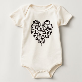 Body Para Bebê A ioga levanta o coração das silhuetas
