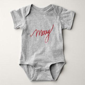 Body Para Bebê A mão da feliz   rotulou o primeiro Natal de  
