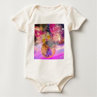 Body Para Bebê A noite brilha com fogos-de-artifício