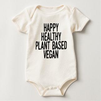Body Para Bebê A planta saudável feliz baseou o Vegan (o preto)
