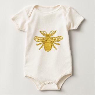Body Para Bebê abelha real, imitação do bordado
