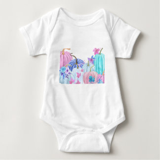 Body Para Bebê Abóbora pastel da aguarela e quadro floral
