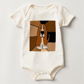 Body Para Bebê Abstrato adorável da arte do cão de Basset Hound
