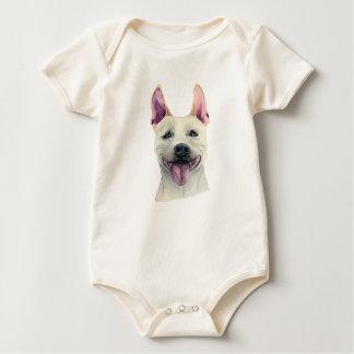Body Para Bebê Aguarela branca do cão de Staffordshire bull