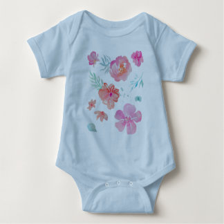 Body Para Bebê Aguarela cor-de-rosa floral romântica legal &
