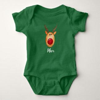Body Para Bebê Aguarela e nome de Rudolph do Natal do bebê