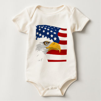 Body Para Bebê Águia e bandeira dos EUA